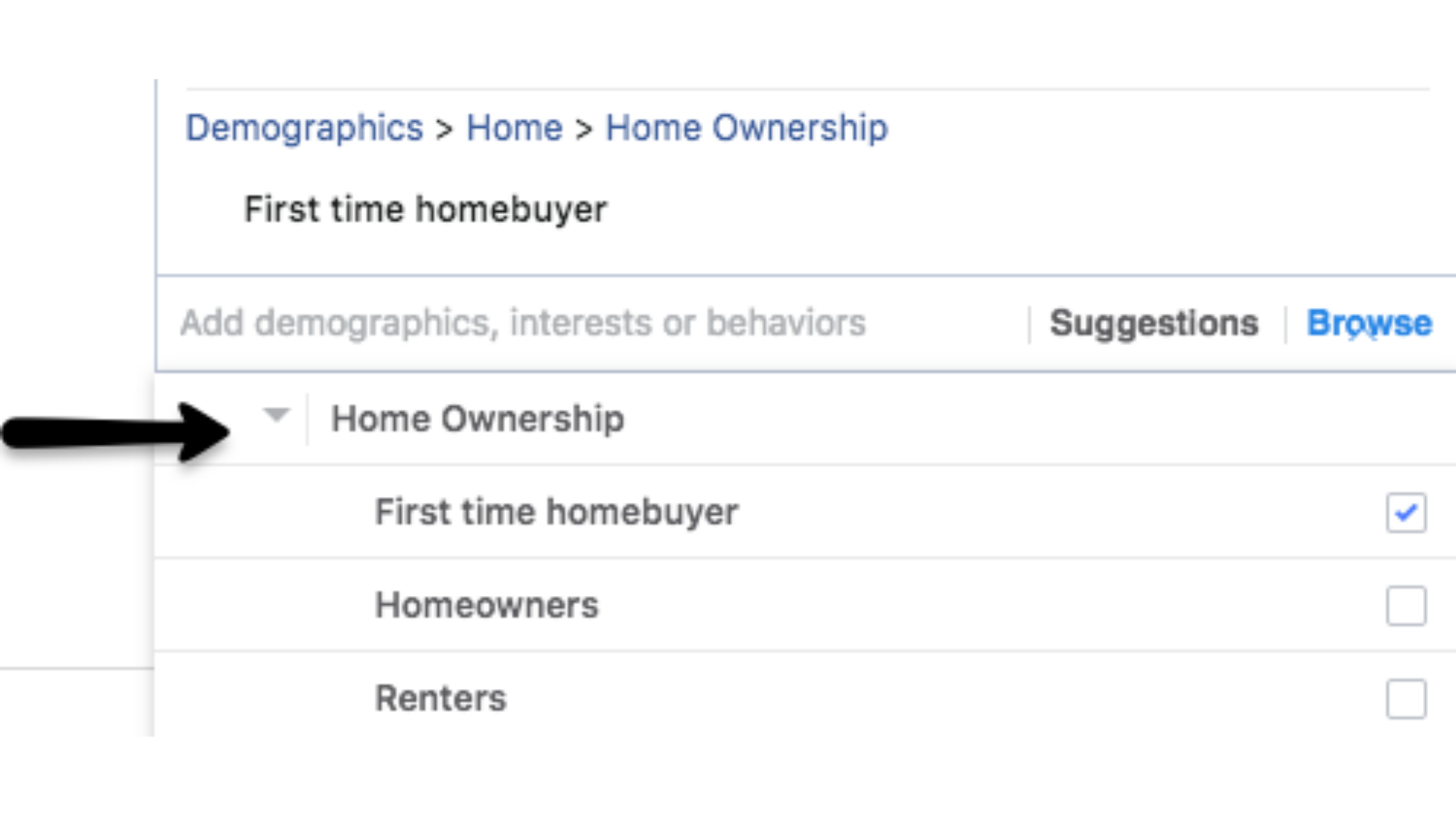 targeting by home ownership status in Facebook ads for real estate